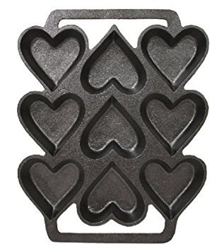 SCI Scandicrafts Cast Iron Heart Shaped Cake Pan - 9 x 7.5 Inch