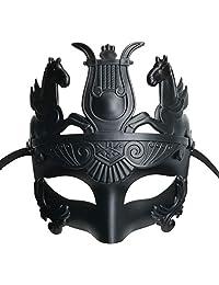 Various Masculine Greek & Roman Soldier Men Venetian Metallic Mask for Masquerade/Party/Ball Prom/Mardi Gras/Wedding(Elastic Band) (Black Roman King)