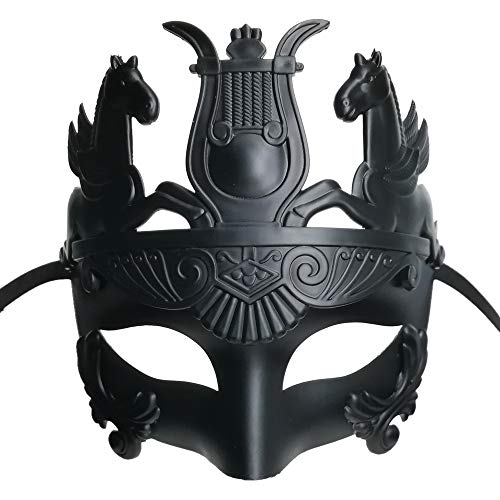 Masculine Greek Soldier & Roman Gladiator Masquerade Venetian Luxury Men Face Mask | Party, Fancy Ball, Prom, Mardi Gras, Wedding, Wall Decoration (Black)
