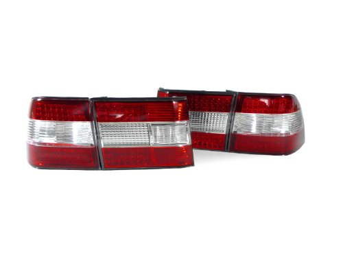 DEPO 1995-1997 Lexus LS400 Red / Clear / Red Crystal Real LED Rear Tail Lights Set