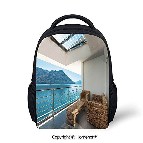 (3D Summer Penthouse Veranda Balcony with Sea Ocean View Image Printing Children Backpack,(12.2