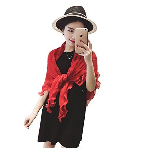 Santwo Fashion - chal de gasa para playa, para mujer, con bufanda, para conducción, Bolero, Cardigan Rosso