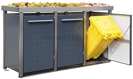 Reinke MW323RT Antrazit - Caja para contenedores de Basura (con Bandeja para 3 toneladas, 240 L y 2 x 120 L), Color Gris Antracita