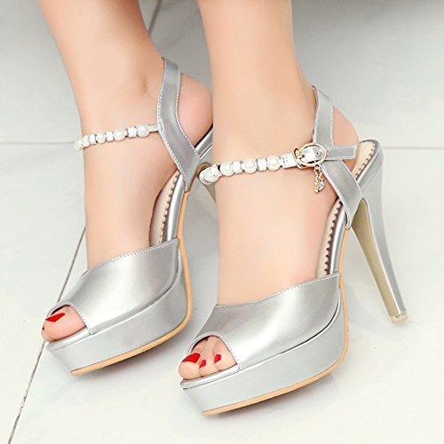 Aisun Donna Sexy In Rilievo Con Fibbia Peep Toe Stiletto Tacco Alto Con Plateau Sandali Con Cinturino Alla Caviglia Argento