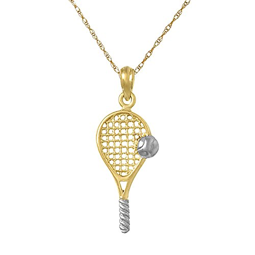 Gold Tennis Racquet - 14k Two-Tone Gold Sports Pendant Necklace, Tennis Racquet with White Ball & Grip, with 18 Inch Chain