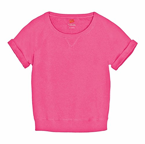 Hanes French Terry Cuff-Sleeve Scoop-Neck Women's T-Shirt, Pink Lotus, (Hanes Live Love Color)