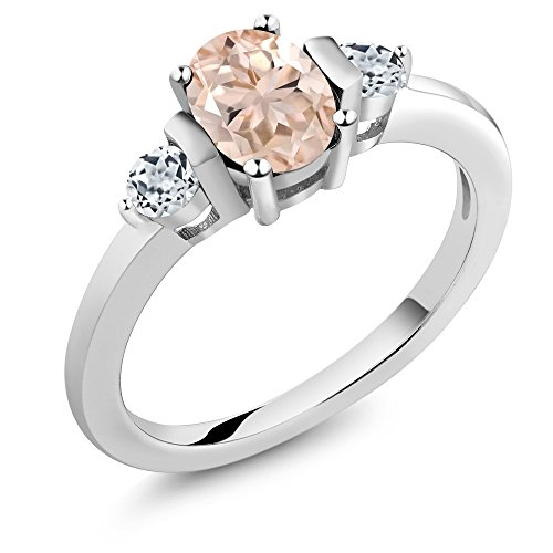 Gem Stone King Peach Morganite and White Topaz 925 Sterling Silver Women's Ring 0.93 Ct Oval (Size 8)