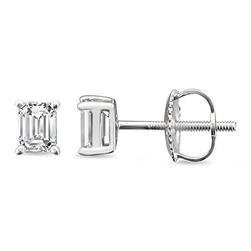 14k White Gold Emerald-cut Solitaire Diamond Stud Earrings (1/2 cttw, H-I, (1/2 Carat Emerald Cut Diamond)