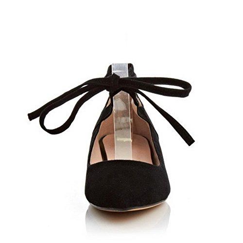 Amoonyfashion Donna Punta A Punta Pull-on Misto Materiali Solidi Pompe-tacco Basso-scarpe Nere
