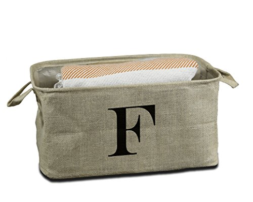 Urban Legacy Letter Initial Monogram Storage Basket Burlap Eco-Friendly Jute. Storage Bin Nursery, Beauty Products, Office Supplies, Gift Basket Monogram (F)