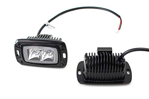 iJDMTOY Spot Beam 10W LED Backup Driving Pod Lamps For Truck Jeep Off-Road ATV 4WD 4x4, (2) Flush Mount Pods Powered by (2) 5W Xenon White CREE LED ()
