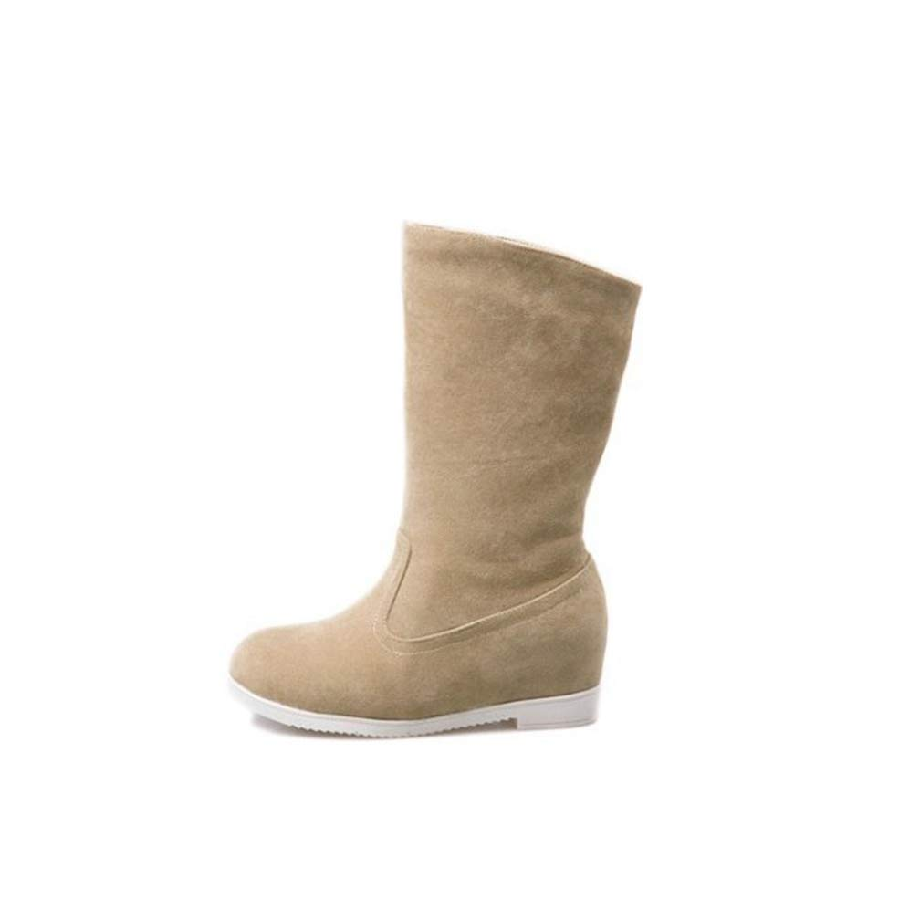 ChyJoey Womens Flat Mid Calf Winter Boots Low Heel Wide Calf Slip On Round Toe Vegan Warm Snow Boots