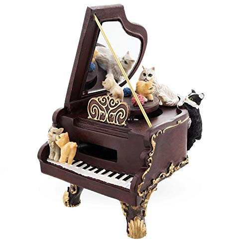 BestPysanky Cats Playing The Piano Animated Figurine with Music Box