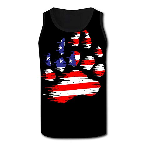 (DLDLTS-22 Men's Tank Top T-Shirt 3D Printed American Flag Bear Paw Sleeveless Vest Tank Shirts Black)