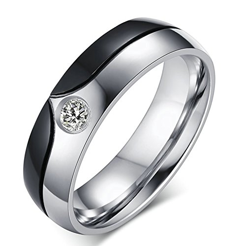 MoAndy Her or Him Matching Set Couple Ring Stainless Steel Band Cubic Zirconia CZ Price One Piece by MoAndy