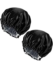 2 Pack Hair Bonnet for Sleeping, Double Layer Satin Bonnet, Adjustable Night Sleep Caps, Soft Silk Hair Wrap Head Cover for Women and Girls Curly Hair, Double Side Used (Black & Silver)