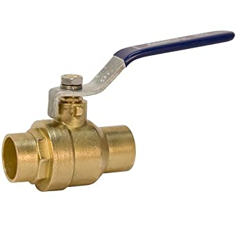 "NIBCO S-FP-600A BRS Brass Ball Valve, Two-Piece, Lever Handle, 2-1/2"" Female Solder Cup"