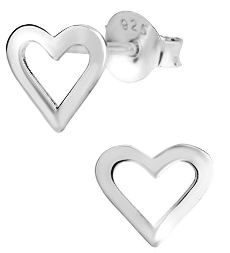Hypoallergenic Sterling Silver Heart Cut Out Stud Earrings for Kids (Nickel -