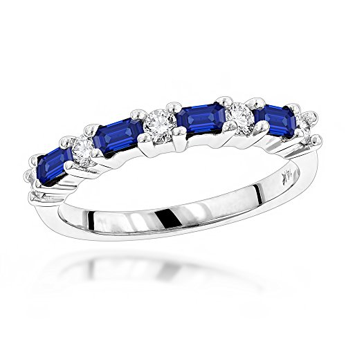 Luxurman Unique 14K Diamond and Sapphire Ring For Women (White Gold Size 8)