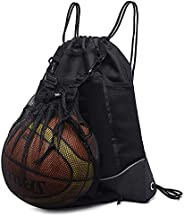 Vickes Mesh Drawstring Backpack, Gym Drawstring Bags Cool Basketball Soccer Backpack with Ball Compartment, Ba