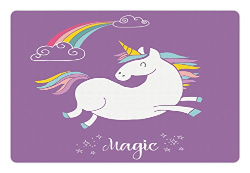Ambesonne Unicorn Pet Mat for Food and Water, Mythical Animal with Clouds and Rainbow Figure Fairy Cute Unicorn Image Print, Rectangle Non-Slip Rubber Mat for Dogs and Cats, Lavander White by Ambesonne (Image #2)