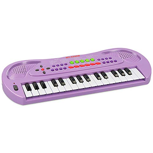 aPerfectLife Kids Piano Keyboard, 32 Keys Multifunction Electronic Kids Keyboard Piano Music Instrument for Toddler with Microphone (Purple)