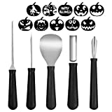 COCODE Pumpkin Carving Tools Kit, 5 Piece Professional Heavy Duty Stainless Steel Tool Set - Easily Carve Sculpt Halloween Jack-O-Lanterns - Scoop, Saw, Poker Tool, Etching Tool, Triangle Knife
