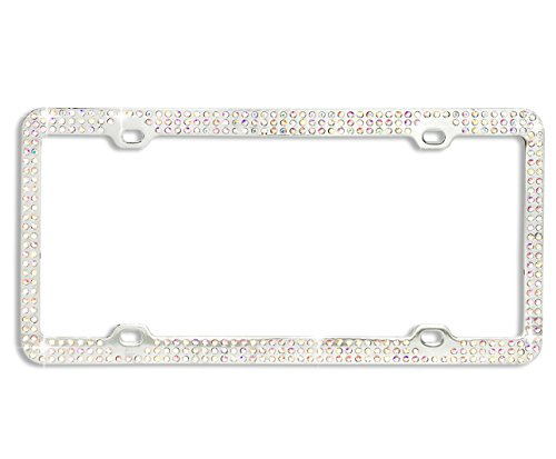 rhinestone-triple-row-metal-license-plate-frame-w-crystal-caps-aurora-borealis