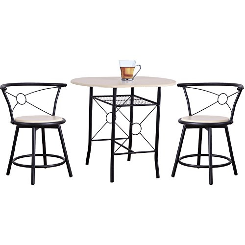 Joveco 3 Pieces Bistro Set - Bistro Table and Chairs - (2) Black Metal Frame Bistro Swivel Chair with Beech Color Table Top and (1) Black Metal Frame Bistro Table - Beech Chairs Table