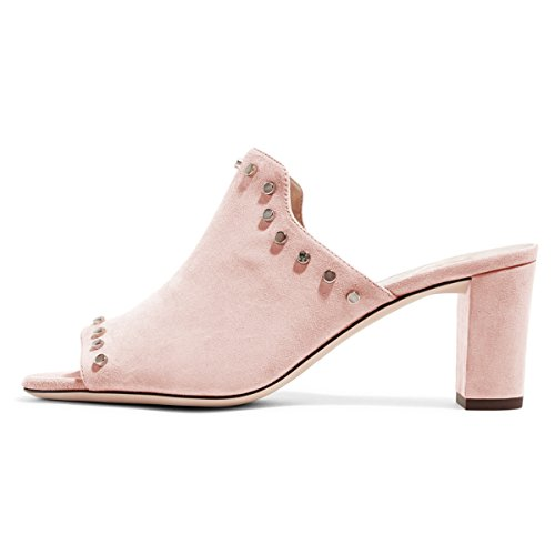 FSJ Women Peep Toe Mules Chunky Heeled Sandals With Studs Casual Slip On Summer Shoes Size 4-15 US Pink-suede on hot sale discount purchase brand new unisex sale online HNryVQcyF