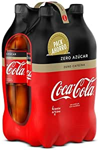 Coca Cola Zero Refresco con Gas con Zero Azúcar, Zero Cafeína, Zero Calorías - 4 Botellas x 2000 ml - Total: 8000 ml: Amazon.es: Alimentación y bebidas