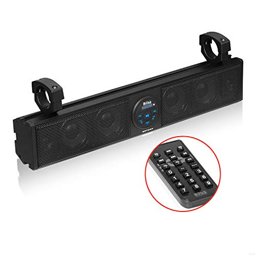 Boss Audio Systems BRT26A ATV UTV Marine Sound Bar System - 26 Inch Wide, Weatherproof IPX5 Rated, Bluetooth Audio Streaming, Built-in Amplifier, 4 Inch Full Range Speakers, 1 Inch Horn Loaded Tweeter