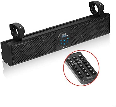 BOSS Audio Techniques BRT26A UTV Sound Bar – 26 Inch Large, IPX5 Rated Weatherproof, Bluetooth, Amplified, 4 Inch Audio system, Horn Loaded Tweeters, Simple Set up for Dune Buggies, Jeeps, Rock Crawlers