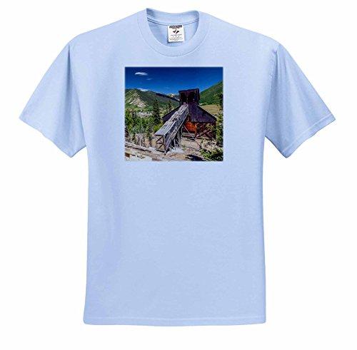 Danita Delimont - San Juan Mountains - Colorado, San Juan Mountains. Abandoned mine building above Silverton - T-Shirts - Adult Light-Blue-T-Shirt 2XL (ts_250704_54) - Silverton Four Light