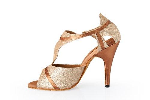 Abby Q-8054 Femmes Litin Chaussures De Danse De Salon 4 Talon Évasé Chaussures Or