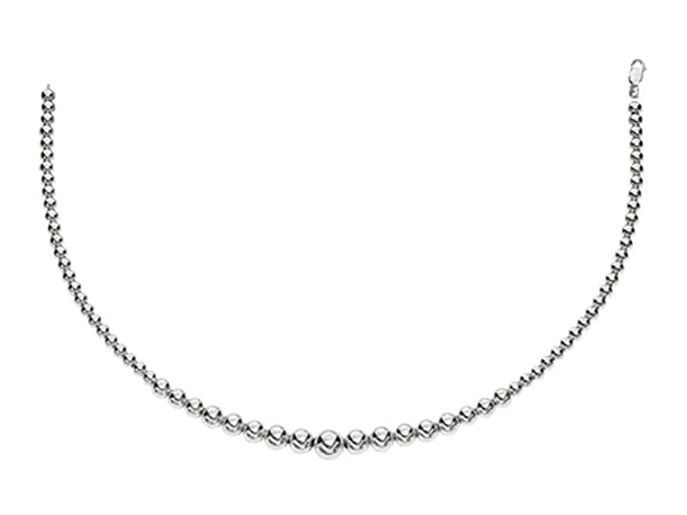 Finejewelers Rhodium Plated 17 Inch 5-8mm Round Bead Graduated Necklace with Lobster Clasp