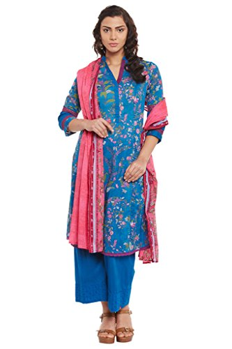 BIBA-Womens-Cotton-Kalidar-Suit-Set-Indigo