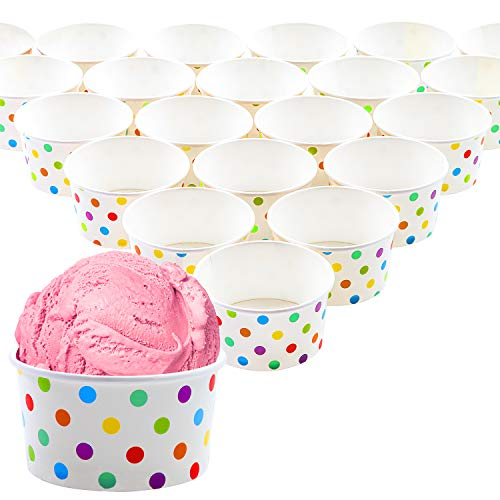 Ruisita 50 Pieces Paper Ice Cream Cups Sundae Cups Polka Dot Paper Treat Cups Yogurt Dessert Bowls 8 OZ (50)