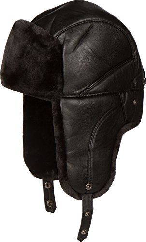 Sakkas 1770 - Samy Adjustable Aviator Ushanka Trapper Hat Faux Fur Warm Soft Water-resist - Black - xl/xxl (Leather Trapper Hat)