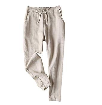 cinnamou Pantalones Mujer, Casual Pantalones De Lino Y Algodon ...