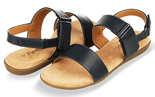 Floopi Sandals for Women | Cute, Open Toe, Summer Sandals| Comfy, Adjustable Velcro, Faux Leather Ankle Straps W/Flat Sole, Memory Foam Insole (10, Navy-510)