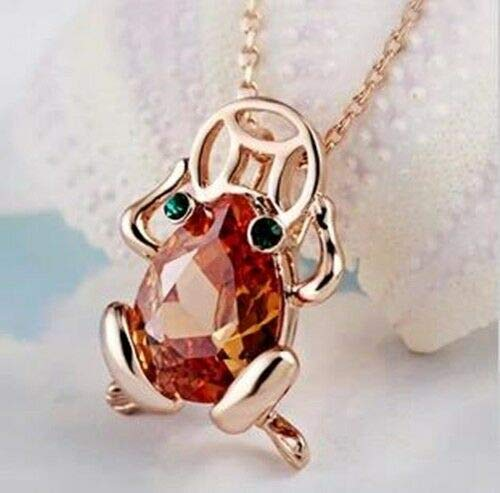 FidgetKute ortune Frog 18kGP Rose Gold Crystal Pendant Necklace (EMS All-The-Way Tracking)