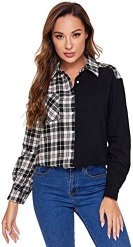 SweatyRocks Women's Long Sleeve Collar Long Button Down Plaid Shirt Blouse Tops