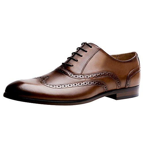 abito Leather Classic Big Mens Size formale scarpe Genuine Rogue Brown Elegante Jamron Oxfords qx0OZwtxp