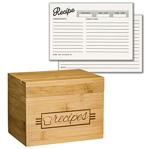 Recipe Box with Recipe Cards, Card Dividers, and Recipe Holder - 100 4x6 Recipe Cards and 10 Card Dividers Included | Eco Friendly Bamboo Wood | Lovely Design | Recipe Card Organizer Storage Box