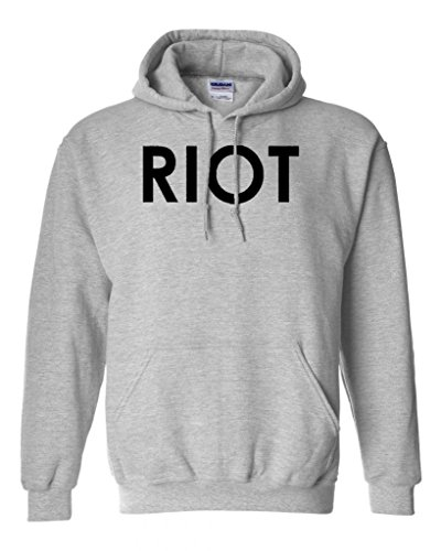 Riot Funny TV Super Soft Sweatshirt Hoodie (Large, Sports Gray w/Black)