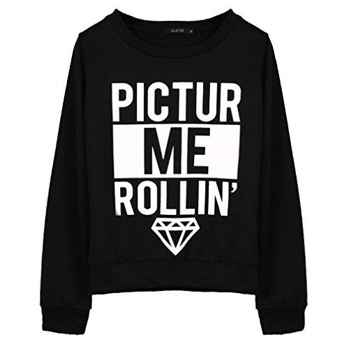 Elfin Women's diamonds&letter printed hoodies Medium Black