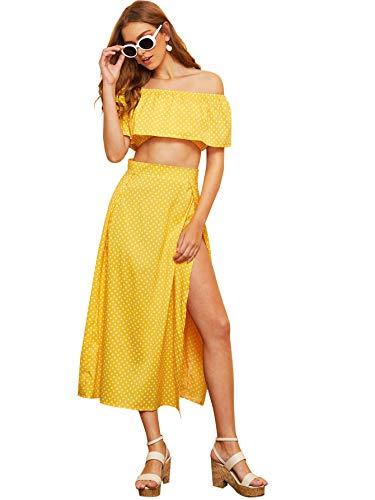 (Milumia Women Off Shoulder Polka Dot Ruffle Crop Top with Split Skirt Yellow S)