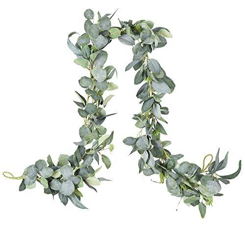 DearHouse 6.2 Ft Eucalyptus Garland Artificial Silk Eucalyptus Leaves Vines Handmade Garland Greenery Wedding Backdrop Arch Wall Decor