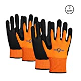 Golden Scute 2 Pairs Hi Vis Micro-Foam Nitrile Coated Work Gloves, Excellent Grip, Cold Weather Safety Protective Gloves, 2 Layers(Medium/Size 8)